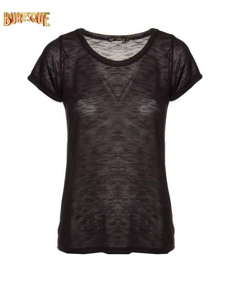 Czarny półtransparentny t-shirt                                  zdj.                                  1