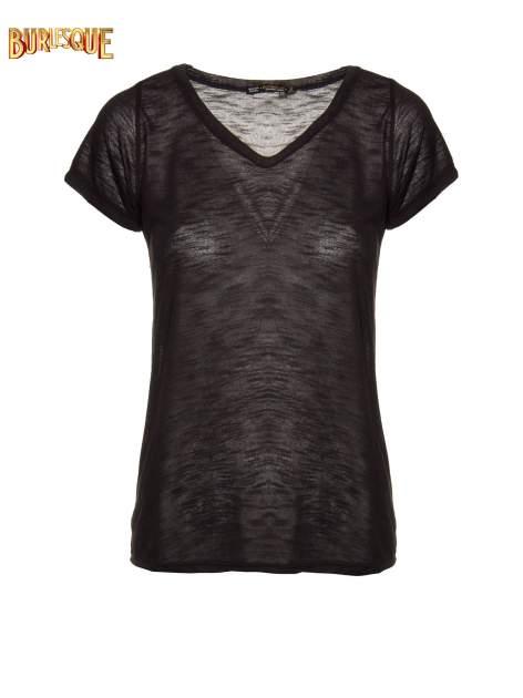 Czarny półtransparentny t-shirt basic