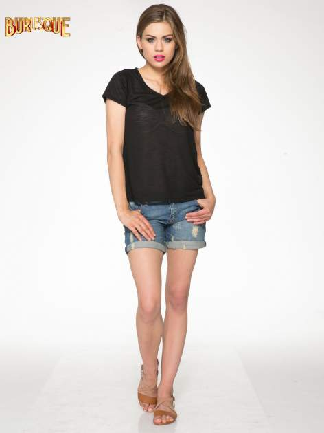 Czarny półtransparentny t-shirt basic                                  zdj.                                  2