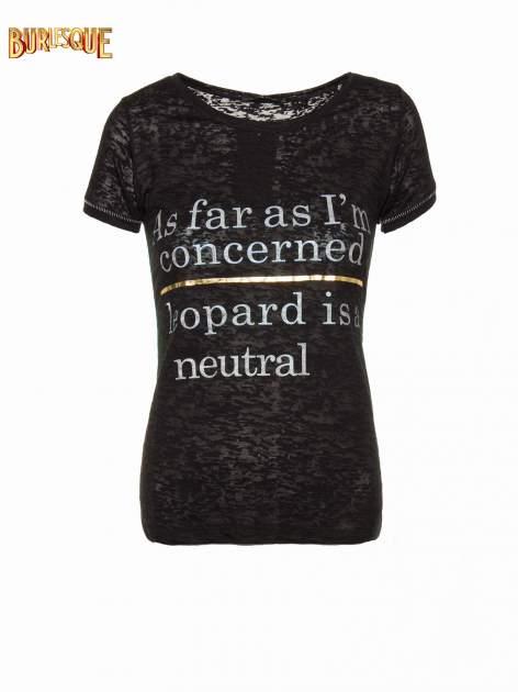 Czarny półtransparentny t-shirt z napisem                                  zdj.                                  1
