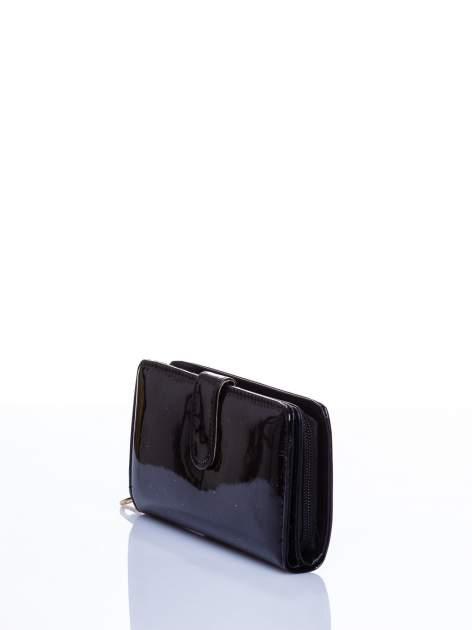 Czarny portfel efekt skóry saffiano                                  zdj.                                  2