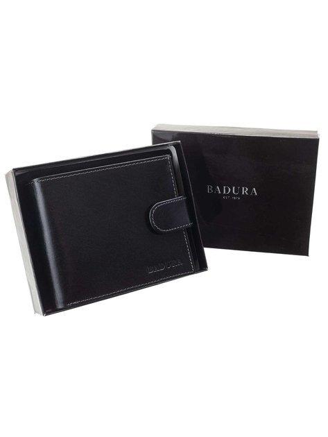 Czarny portfel męski ze skóry naturalnej BADURA