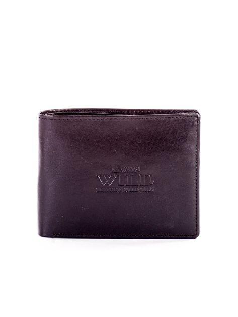 Czarny portfel męski ze skóry z tłoczeniem