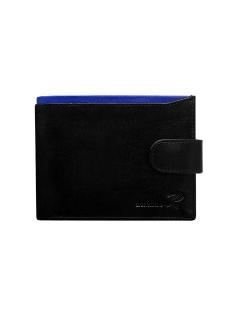Czarny portfel skórzany męski z kobaltowym wykończeniem
