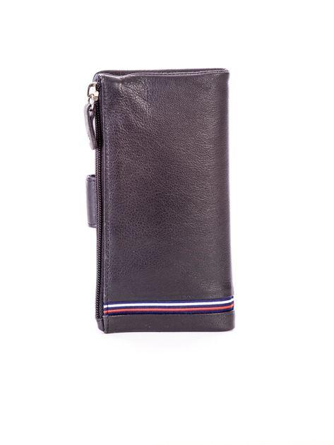 Czarny portfel skórzany z kieszenią na suwak                              zdj.                              2