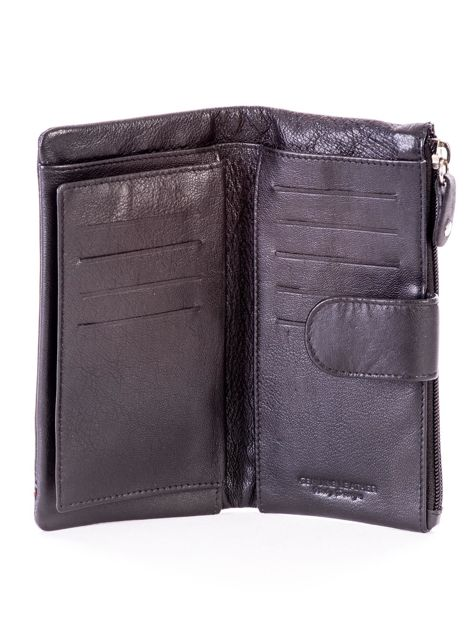 Czarny portfel skórzany z kieszenią na suwak                              zdj.                              5