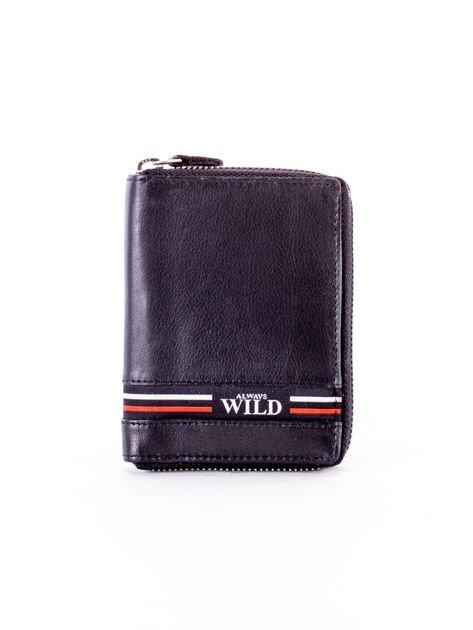 Czarny portfel skórzany z zapięciem na suwak                              zdj.                              1