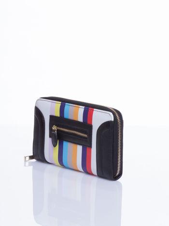 Czarny portfel w paski z kieszonką                                  zdj.                                  3