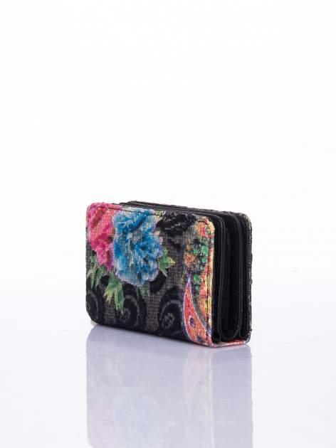 Czarny portfel z kwiatowymi motywami                                  zdj.                                  3