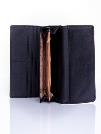Czarny portfel z motywem skóry aligatora                                   zdj.                                  5
