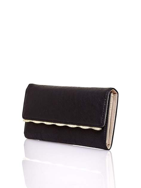Czarny portfel z ozdobną aplikacją                                  zdj.                                  3