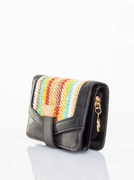Czarny portfel z plecionką                                  zdj.                                  2