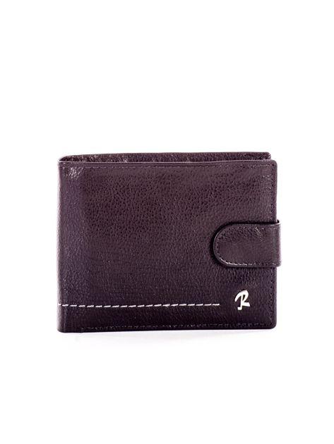 Czarny portfel ze skóry naturalnej na zatrzask                              zdj.                              1
