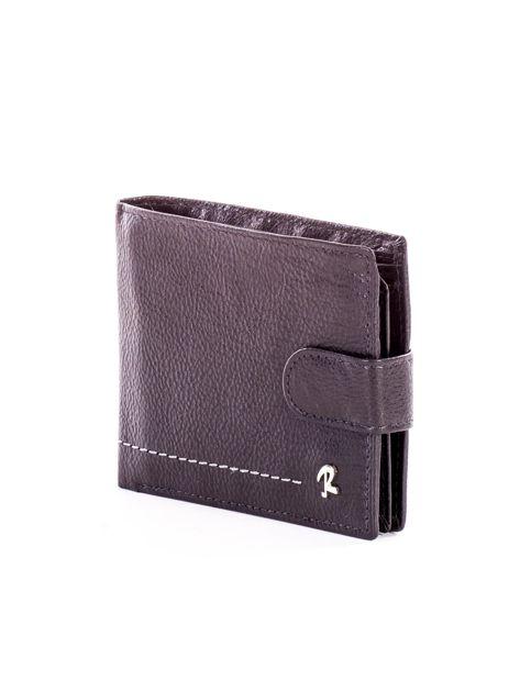 Czarny portfel ze skóry naturalnej na zatrzask                              zdj.                              3