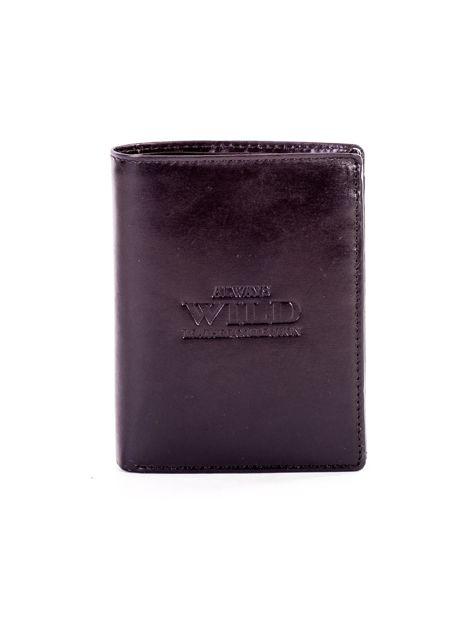 Czarny portfel ze skóry naturalnej z napisem                              zdj.                              1