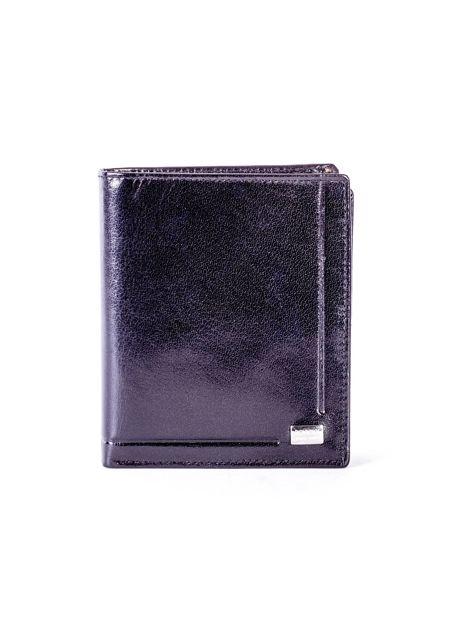 Czarny portfel ze skóry naturalnej z tłoczeniem                              zdj.                              1