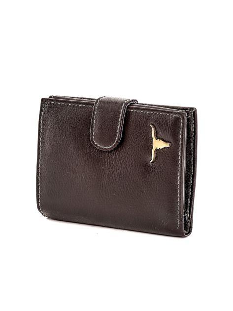 Czarny portfel ze skóry naturalnej zapinany na zatrzask                              zdj.                              3