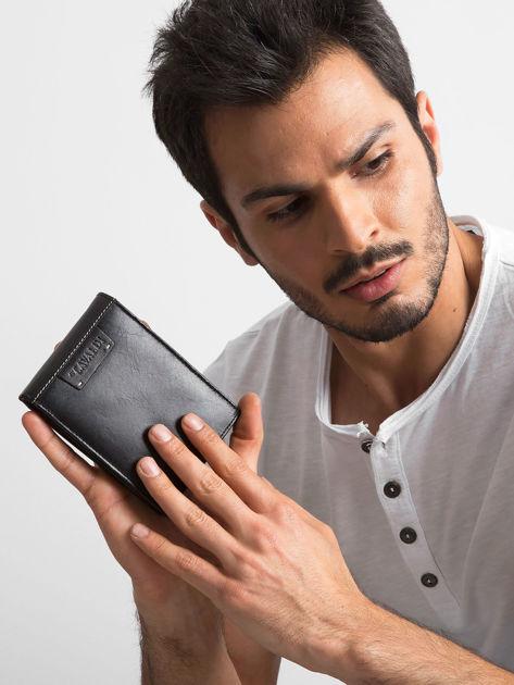 Czarny poziomy portfel męski skórzany                              zdj.                              6