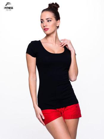 Czarny prosty t-shirt sportowy                                  zdj.                                  3
