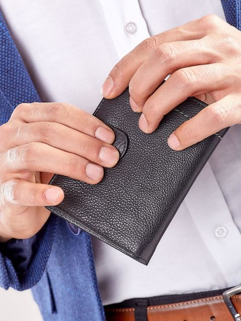 Czarny rozkładany portfel ze skóry                              zdj.                              8