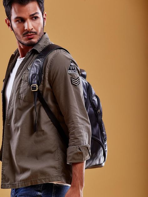 Czarny skórzany plecak męski w stylu motocyklowym                              zdj.                              10