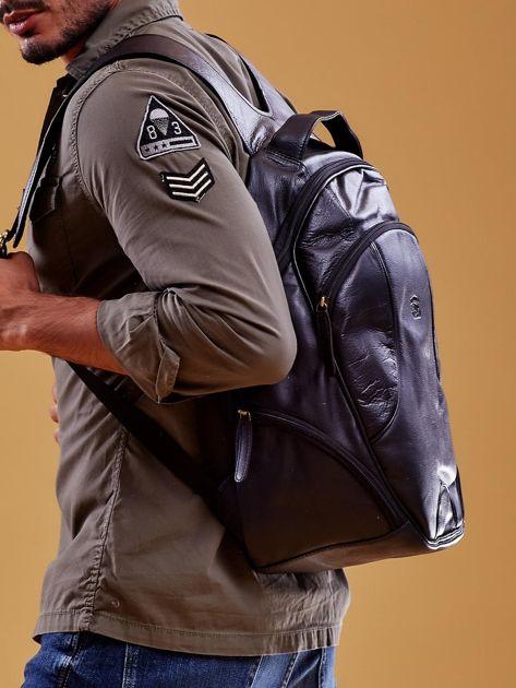 Czarny skórzany plecak męski w stylu motocyklowym                              zdj.                              5