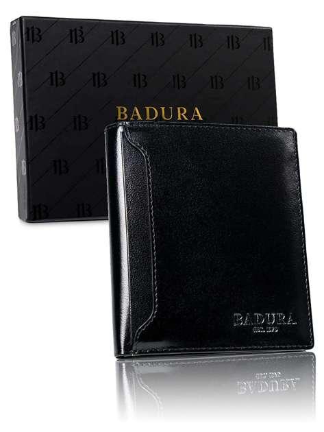 Czarny skórzany portfel dla mężczyzny BADURA