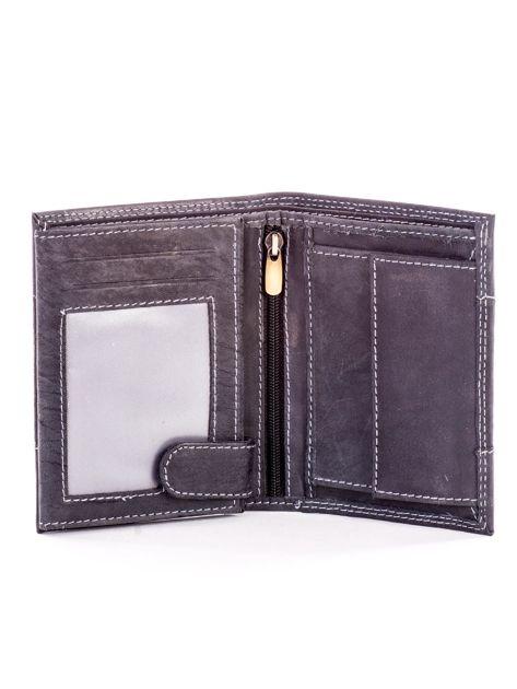 Czarny skórzany portfel dla mężczyzny z materiałową wstawką                              zdj.                              4