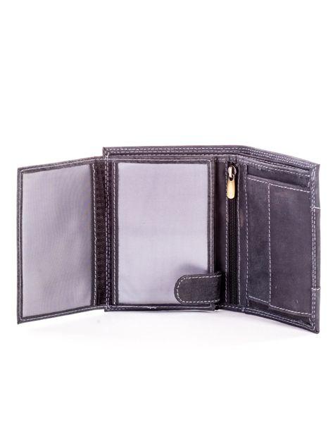 Czarny skórzany portfel dla mężczyzny z materiałową wstawką                              zdj.                              5