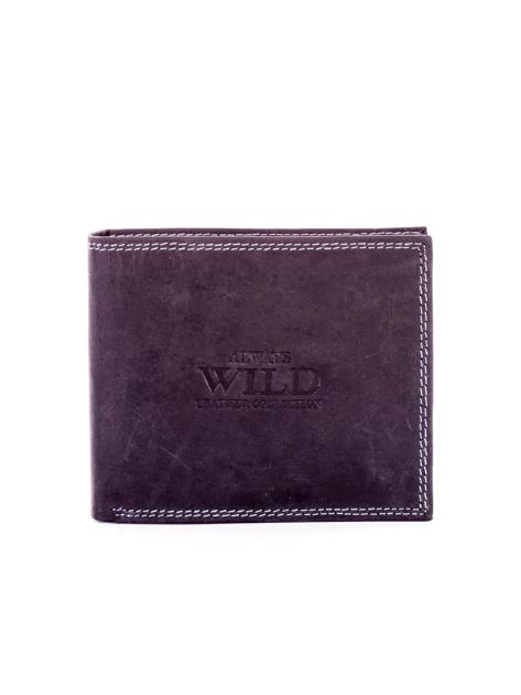 Czarny skórzany portfel dla mężczyzny z przeszyciami                              zdj.                              1