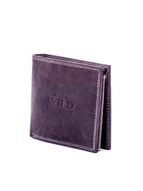 Czarny skórzany portfel dla mężczyzny z przeszyciami                              zdj.                              3