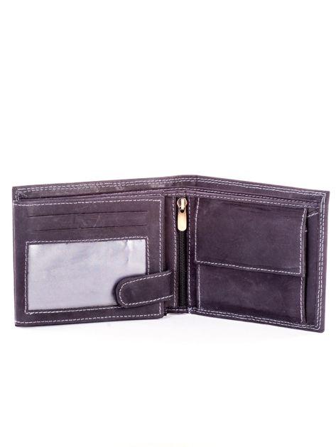 Czarny skórzany portfel dla mężczyzny z przeszyciami                              zdj.                              4