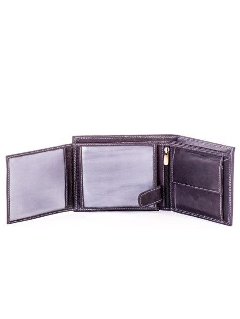 Czarny skórzany portfel dla mężczyzny z przeszyciami                              zdj.                              5