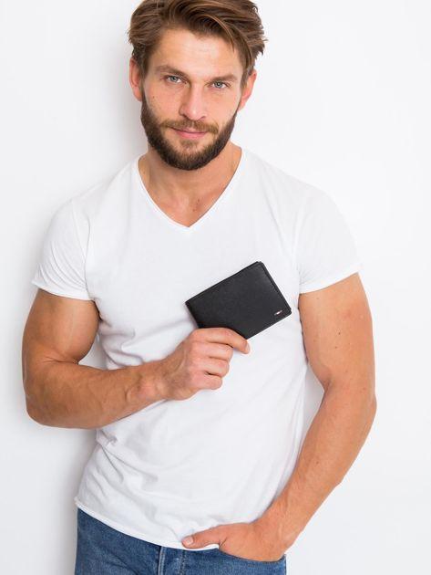 Czarny skórzany portfel męski                               zdj.                              2