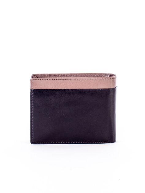 Czarny skórzany portfel męski z beżową wstawką                              zdj.                              2