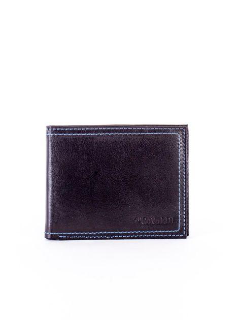 Czarny skórzany portfel męski z eleganckim niebieskim obszyciem                              zdj.                              1