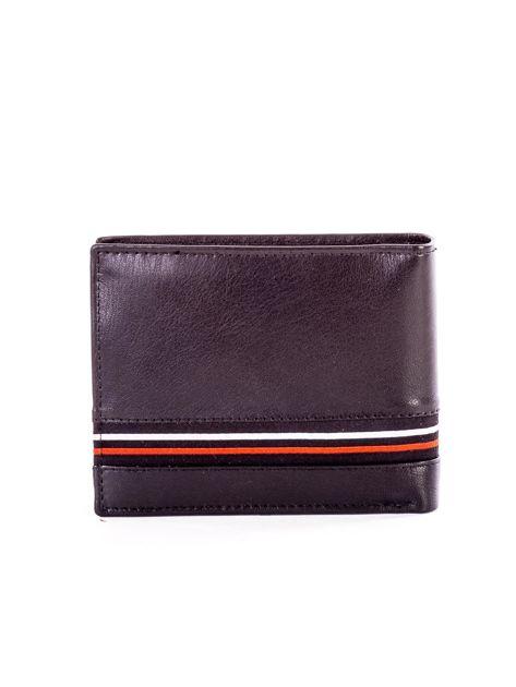 Czarny skórzany portfel męski z materiałowym modułem                              zdj.                              2