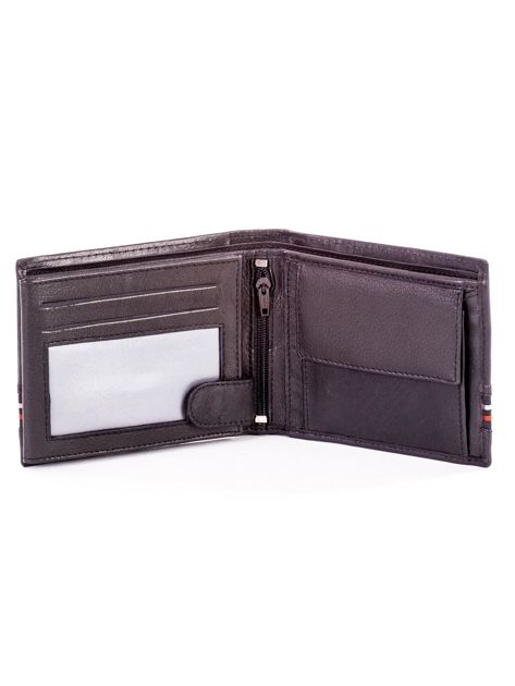 Czarny skórzany portfel męski z materiałowym modułem                              zdj.                              4
