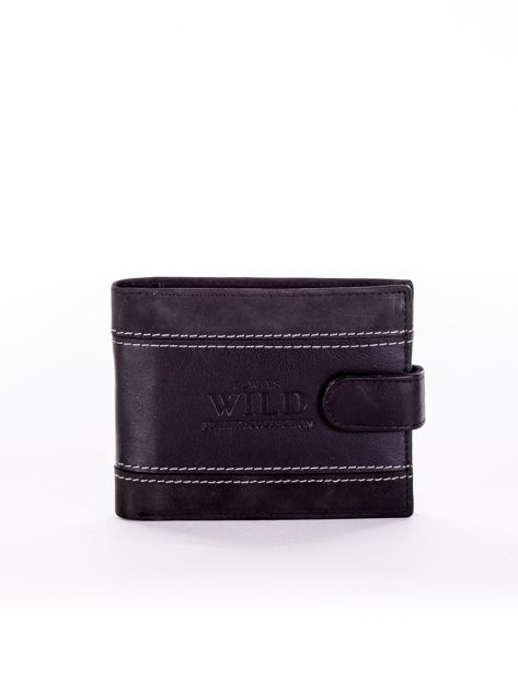Czarny skórzany portfel męski z ozdobnymi przeszyciami
