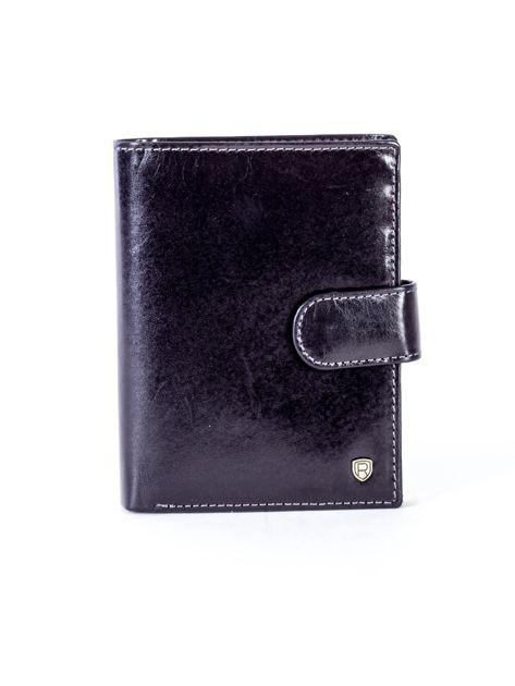 Czarny skórzany portfel na zatrzask                              zdj.                              1