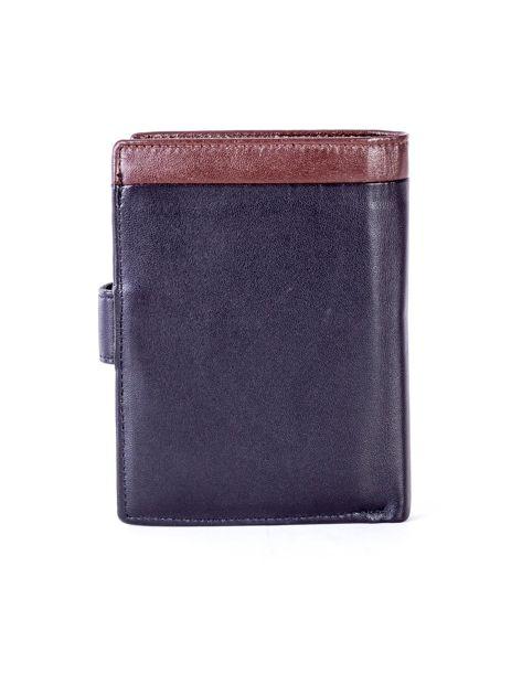 Czarny skórzany portfel z brązową wstawką                              zdj.                              2