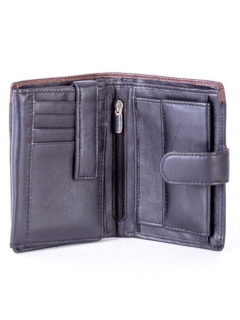 Czarny skórzany portfel z brązową wstawką                              zdj.                              4