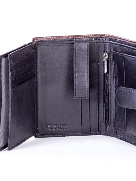 Czarny skórzany portfel z brązową wstawką                              zdj.                              6