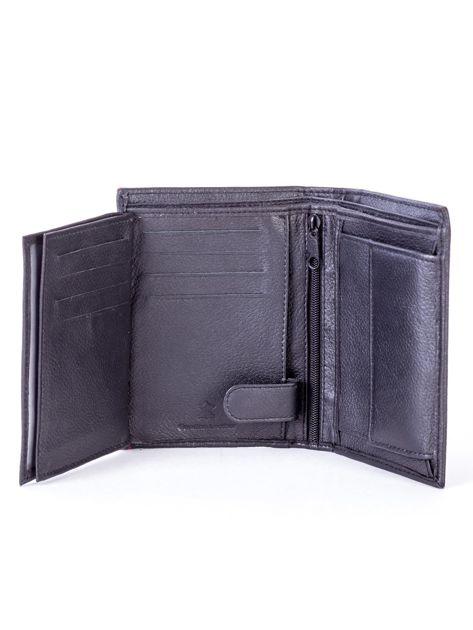 Czarny skórzany portfel z czerwonym wykończeniem                              zdj.                              6