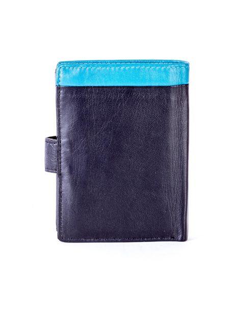 Czarny skórzany portfel z niebieską wstawką                              zdj.                              2