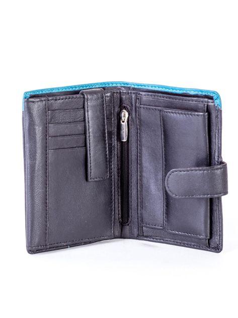 Czarny skórzany portfel z niebieską wstawką                              zdj.                              4