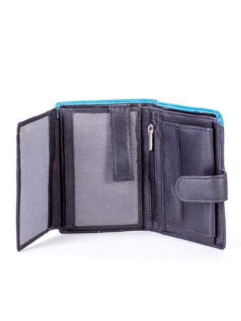 Czarny skórzany portfel z niebieską wstawką                              zdj.                              5