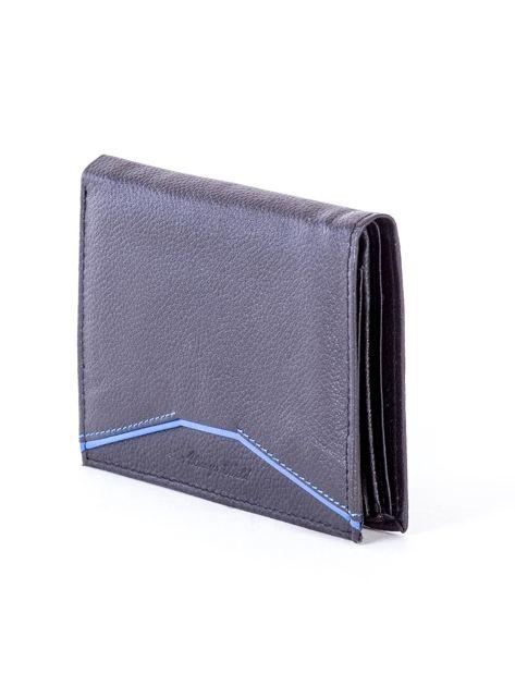 Czarny skórzany portfel z niebieskim wykończeniem                              zdj.                              3