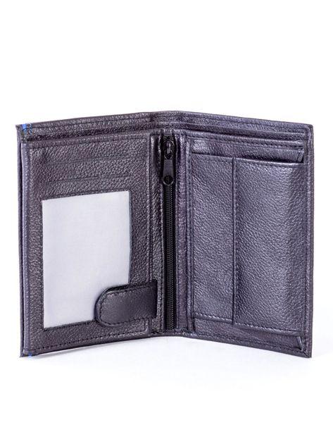 Czarny skórzany portfel z niebieskim wykończeniem                              zdj.                              4