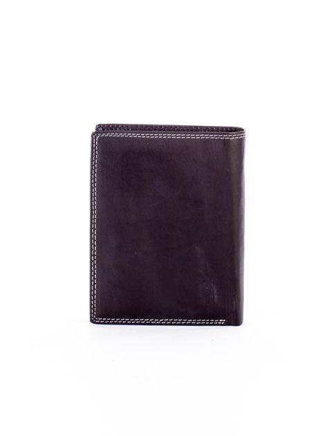 Czarny skórzany portfel z okrągłym tłoczonym emblematem                              zdj.                              2